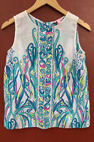 Lilly Pulitzer Top Small Iona Silk Shirt Sleeveless White Blue Blouse 4 6