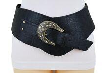 Women Black Faux Leather Belt Bling Buckle Wide Western Fashion Waist Hip S M