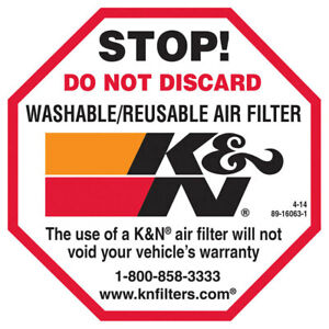 """89-16063-1 K&N Air Filter Decal Do Not Discard SM, 2-1/2"""" DECAL; STOP 2-1/2"""""""