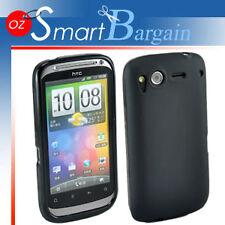 Black Soft Gel TPU Cover Case For HTC Desire S + Film