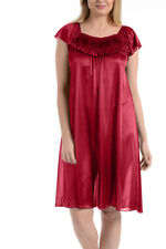 Women's Satin Silk Ruffle Sleeveless Nightgown By EZI