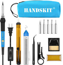 Soldering Iron Kit Electronic 60W Adjustable Temperature Welding Tool Carry Bag