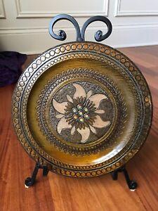 Vintage Handcrafted Polish Wood Folk Art Plate w/ Metal Inlays