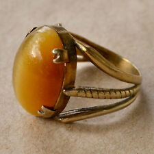 *Vintage Tigers Eye Sterling Silver Setting SIZE 7 Three Banded Band