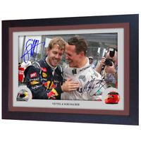 Michael Schumacher Sebastian Vettel signed autograph photo print Framed MDF