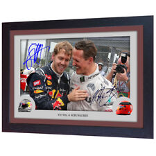 Michael Schumacher Sebastian Vettel signed autograph photo print Framed MDF