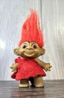 Vintage 1964 Thomas Dam Troll Doll by DAM Things - Maroon Red Hair & Glassy Eyes