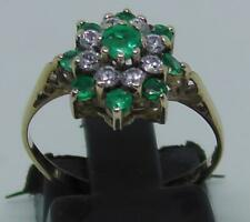 Vintage 9ct Yellow Gold Emerald and Diamond Ring Size L