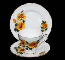 Vintage Royal Sutherland England pretty yellow roses teacup trio set.
