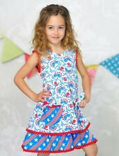 Jelly the Pug Girls Dress Stars Stripes Holly Size 5 Boutique Patriotic July 4th