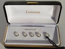 Men's New White Silver Edged Dress Stud Set x5 Boxed