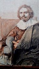 Rembrandt Heliogravure on Japon  plate signed 1634 France 1800,s 8.5x11.75