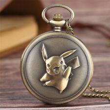 Retro Pikachu Pokemon Boys Kid Children Men Quartz Pocket Watch Necklace Chain