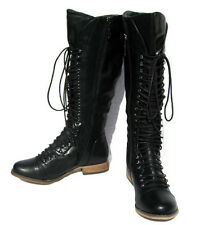 Women's Designer Motorcycle Boots Black Riding shoes winter snow Ladies size 8