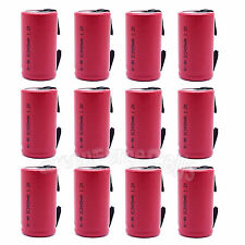 12 pcs SubC Sub C 3400mAh 1.2V NiMH Rechargeable Battery w/ Tab For RC Toy Red