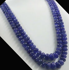 1325 TCW Natural blue Tanzanite Round Beads Necklace certified estate vintage