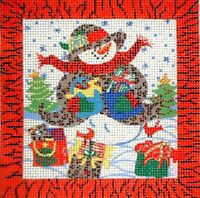 KWC Christmas Snowman in Coat HP Hand Painted Needlepoint Canvas