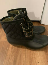 NEW Sperry Saltwater Duck Boots Women's Quilted Rain Snow Size 6 Black NWOT $99