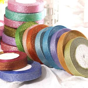 25Yard 1in Glitter Organzr Grosgrain Ribbon Wedding Party Supplies For Gift Wrap