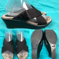 Womens DANSKO 'Ava' Black Elastic Straps Slides Sandals SIZE 39 US 8.5-9