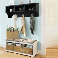 """48"""" Wood 2 Color Entryway Cubbie Wall Mounted Hanging Storage Shelf w/ Hooks HS"""