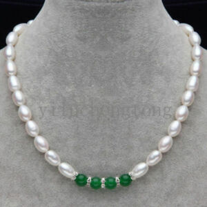Fashion Natural 7-8MM White Rice Akoya Pearl & Green Jade Beads Necklace 18""