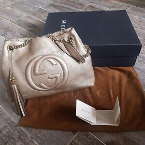 Gucci Soho Metallic Pebbled Calfskin Chain Beige Leather Tote Shoulder Bag w box