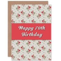 Birthday Happy 70Th Seventy Flower Pattern Blank Greeting Card With Envelope