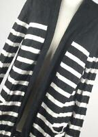 Peacocks Black Striped Womens Cardigan Size 14 (Regular)
