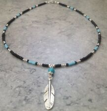 "Native American Indian Feather Pendant Turquoise Bead Glass Bead 20"" Necklace"