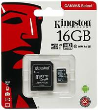 16GB KINGSTON Micro SD SDHC SD Memory Card Class 10 45MB/s 16GB With Adapter