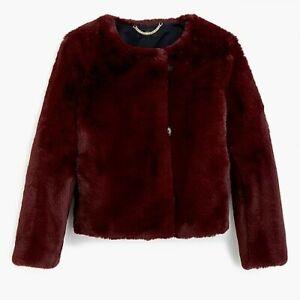 J. Crew Women's Cropped Faux-Fur Burgundy Coat J9179 Size Large