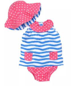 NWT Gerber Toddler Girls 3 Piece Dress Bloomers & Hat Set 5T
