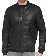 $798 NWT 2016 DIESEL L-DEVRA Black Sheepskin Leather Bomber Jacket Men's Large L