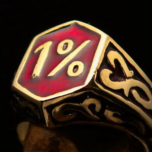 MENS BRASS OUTLAW BIKER RING 1% ONE PERCENTER CELTIC ORNAMENTS RED SIZE 9