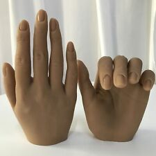 Silicone Brown Fake Hand Model Nails Art Practice Mannequin High Simulation