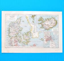 Dänemark (Island Kopenhagen Faröer)   Historische Landkarte um 1910   1:2000000