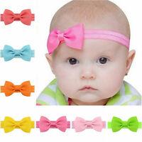 20X Baby Girls Bow Headband Hairband Soft Elastic Band Hair Accessories DSUK