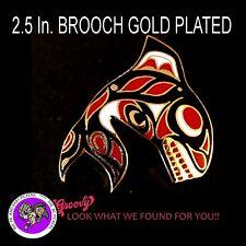First Nation Haida 'Salish Orca' Enamel Cloisonne Red Black Gold BROOCH