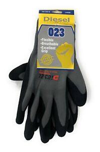 12 Pair Diesel Grey/Black Safety Gloves Latex Fine Grip Cut Resistant