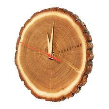 Wooden Round Silent Wall Clock - 7'' Oak Wood with Bark Edge - Boho / Farmhouse