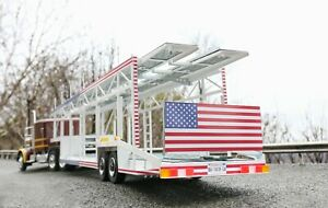 USA livery 6car trailer transporter 1:18 scale for Peterbilt 359 Road Kings