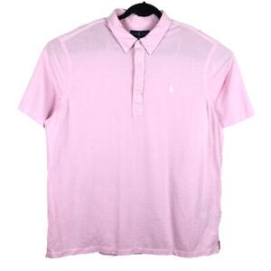 Ralph Lauren Mens Pink Knit Oxford Short Sleeve Polo Shirt Size 2XL