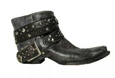 Old Gringo Ankle Boots Yippie Ki Yay Black Leather Studded Straps Womens 7 VGUC