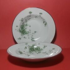 "Noritake Ireland Tipperary Soup Plate Porcelain 9"" Diameter Silver Trim Lot of 2"