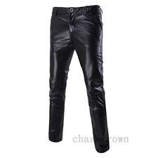 New Men Casual Faux Leather Shiny Punk Dance Trousers Sweatpants Dresses Pants