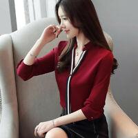 Autumn Women Ladies Slim V Neck Chiffon Long Sleeve Knot Career Shirt Blouse Top
