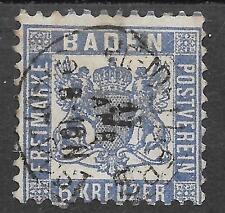 GERMAN STATE,BADEN; SG 30 VERY FINE USED; 6 KREUZER, ULTRAMARINE.