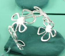 Fashion 925 Silver Flower Women's Adjustable Cuff Bangle Bracelet Jewelry