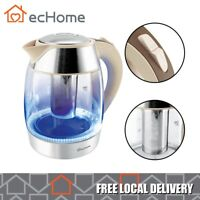 ecHome Glass Electric Kettle 1.8L 360 Cordless Tea Jug Stainless Steel 2200W